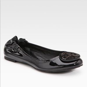 Tory Burch black patent leather Vera ballet flats